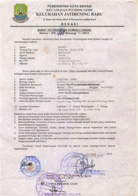 jasa pembuatan surat keterangan domisili perusahaan profil cv jasa sedot wc jakarta sedot wc jakartasedot wc