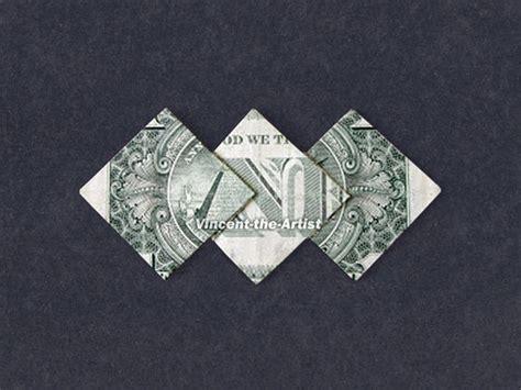 Money Origami Uk - money origami three diamonds dollar bill made with