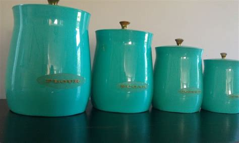 teal kitchen canisters vintage teal and gold canister set vintage kitchen