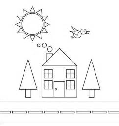 shape of house shapes of house and bird with trees and the sun coloring page netart