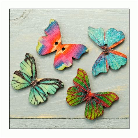 Butterfly Wooden Buttons 05 must haves 4 assorted colour wooden butterfly buttons