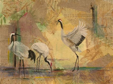 crane painting white crane spreads its wings by clift