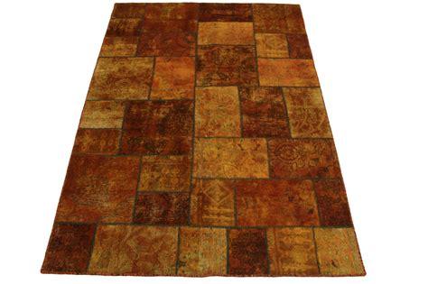 teppich braun orange patchwork teppich orange braun in 240x170cm 1001 2092
