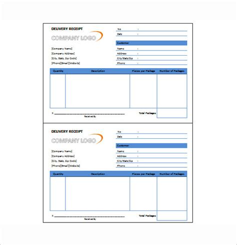 shipping receipt template delivery receipt template 10 free sle exle