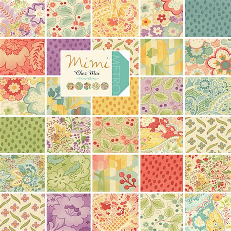 Quilting Fabrics Moda by Moda Mimi Charm Pack 42 5 Squares Precut Fabric By