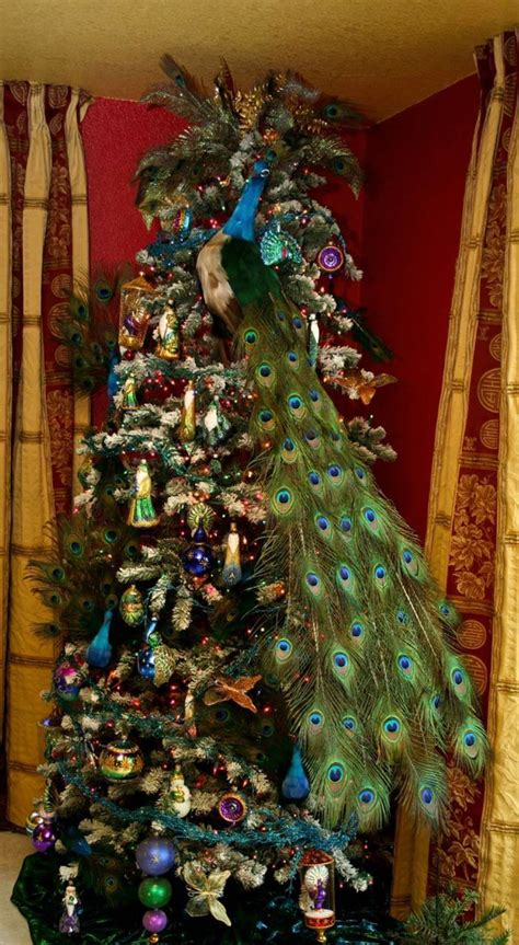 47 best peacock christmas decor images on pinterest