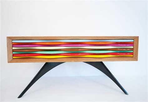 modern colorful furniture wood and colorful dresser by anthony hartley