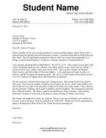 cover letter exles for high school students with no