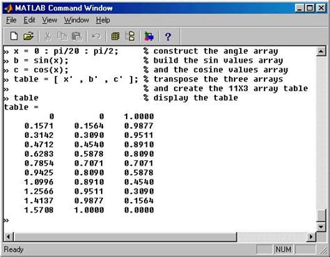 Matlab Tables by Matlab Entering Constructing Displaying Arrays
