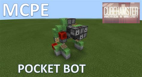 slime block tutorial cubehamster mcpe slime block robot pocket bot mech tutorial youtube
