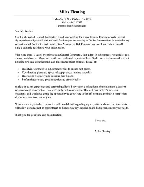 Construction Cover Letter by Leading Professional General Contractor Cover Letter Exles Resources Myperfectcoverletter