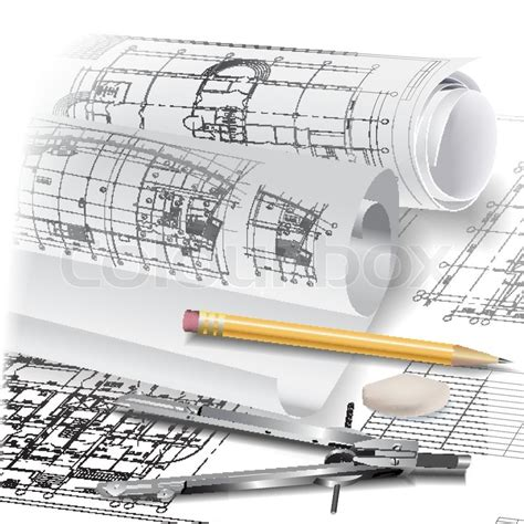 architecture tools for drawing architectural background with drawing tools and rolls of