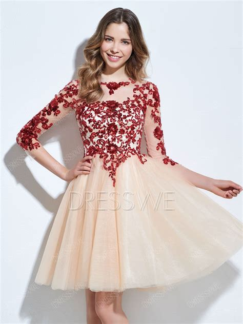 Homecoming Dresses by Beautiful A Line 3 4 Sleeve Lace Applique Homecoming