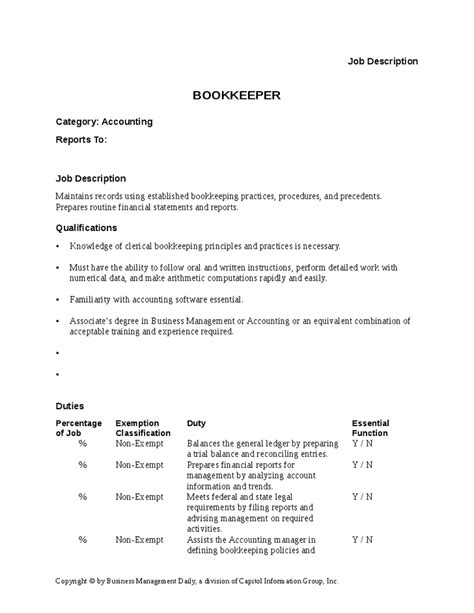 description for bookkeeper bookkeeper description for resume