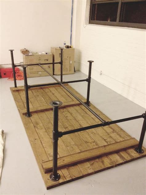 diy patio table legs pipe leg table and other modern industrial techie looking office maybe we should pack some