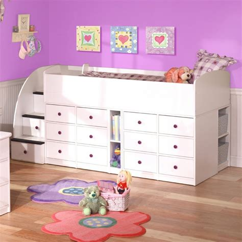 low loft bunk bed in white with storage underneath for kid