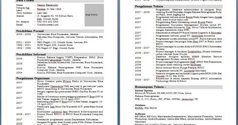 format daftar riwayat hidup ms word download contoh cv daftar riwayat hidup terlengkap ms word