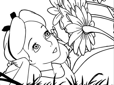 printable alice in wonderland flowers alice in the wonderland flower picture coloring page