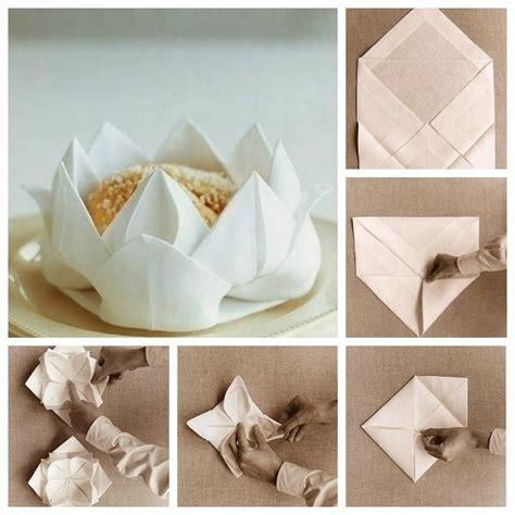 Paper Napkins Folding Ideas - como doblar servilletas de tela con flor de loto1