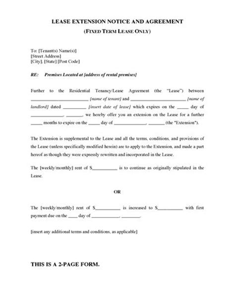 South Australia Fixed Term Lease Extension Agreement Legal Forms And Business Templates Fixed Term Lease Agreement Template