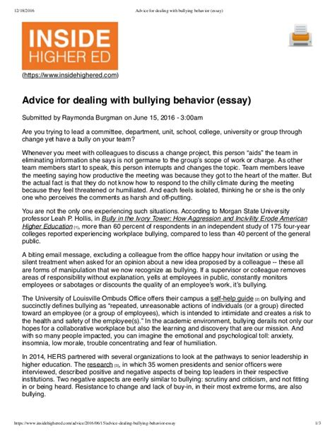 thesis about bullying slideshare advice for dealing with bullying behavior essay
