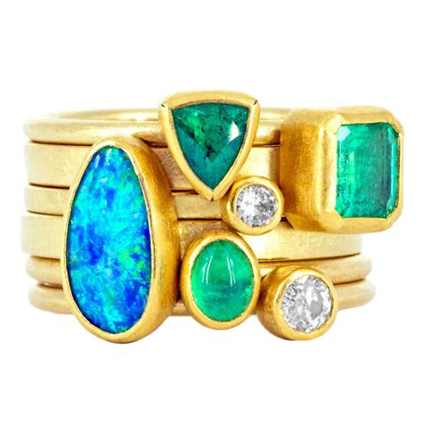 Handmade Opal Rings - class emerald opal gold handmade stacking