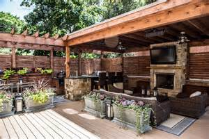Backyard Roofed Patio Deck Features Zones For Entertainment Cooking Relaxing