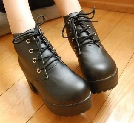 Boots Shoes Import Sepatu Boots Import 8 womens black white rock lace up chunky heels platform ankle boots shoes
