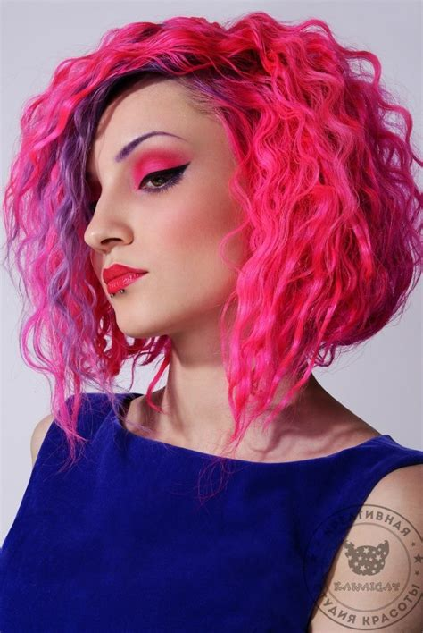 bright hair color for curly hair curly bright colored bob hair colors ideas