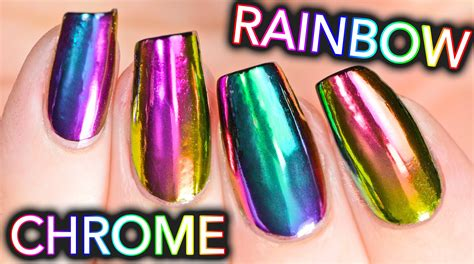 rainbow chrome diy rainbow chrome nails w new multi chrome powder no