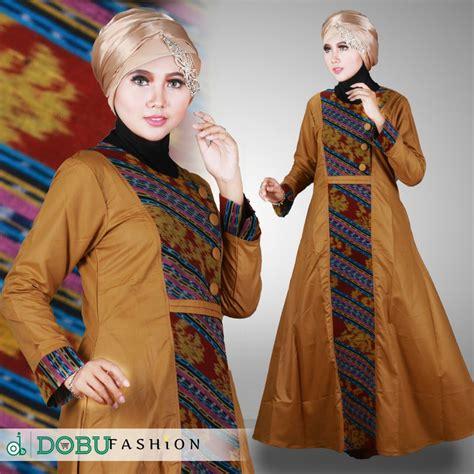 Grosir Busana Muslim Terbaru model baju gamis kombinasi kain songketgrosir busana