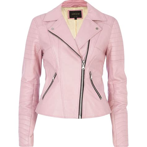pink leather motorcycle jacket lyst river island pink leather biker jacket in pink