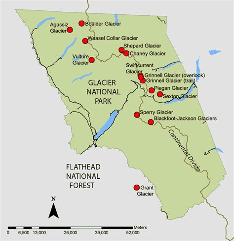 map showing glaciers re photographed by usgs since 1997