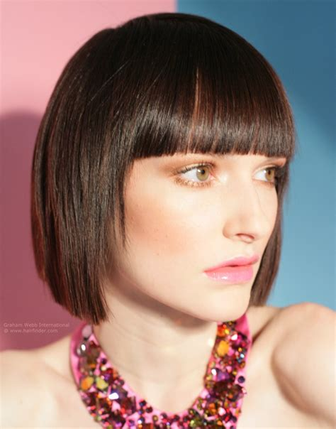 bob haircuts with blunt ends classic bob hairstyle with blunt squared ends and a