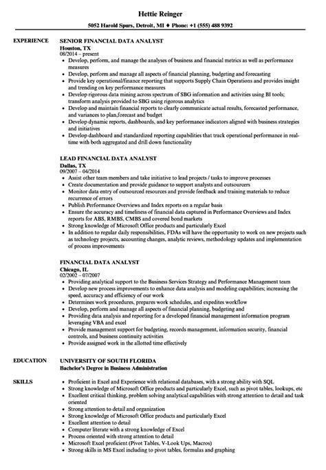 Senior Data Analyst Resume Sle financial data analyst resume sles velvet