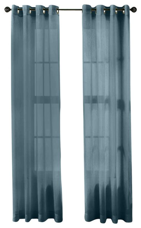 Dusty Blue Curtains hlc me 2 sheer window curtain grommet panels dusty
