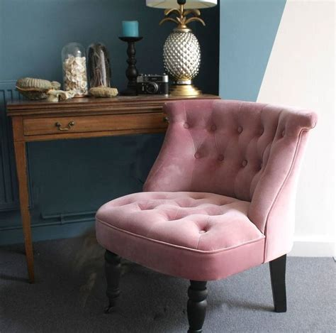 Pink Bedroom Chair | dusky pink velvet button back bedroom chair by ella james
