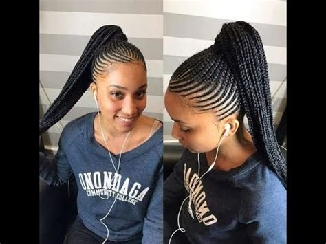 ghana braids ponytail styles : braids all back, updo for