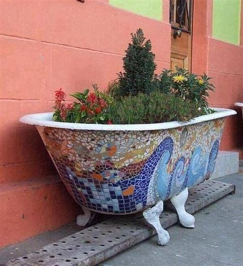 bathtub flower bed mosaic bathtub turned flower bed outdoors pinterest