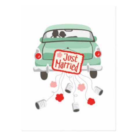 Just Married Auto Postkarte by Just Married Car Postcards Zazzle