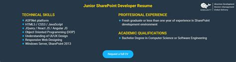sharepoint resume resume format download pdf