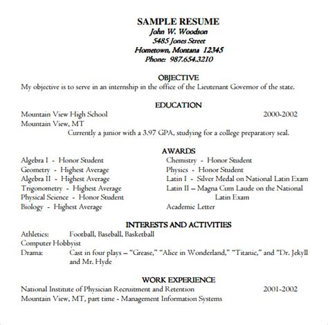resume template academic sle academic resume 8 free documents in