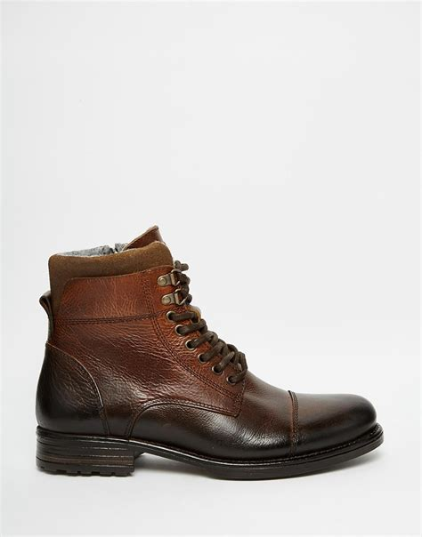 aldo brown boots lyst aldo giannola leather boots in brown for
