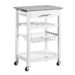 Linon Mitchell Kitchen Cart With Granite Top White by Kitchen Carts Islands Kmart