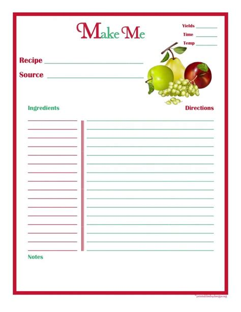 Paper Recipe - 1000 ideas about recipe templates on recipe