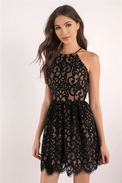 Dres Black black dress lace dress black flare dress skater