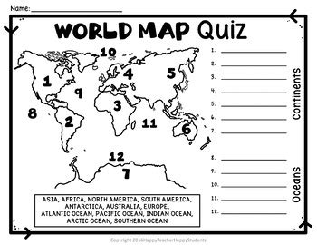 World Map Worksheet Pdf by World Map World Map Quiz And Map Worksheet 7 Continents
