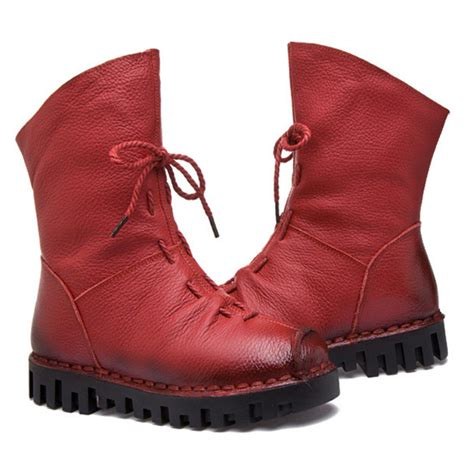 Womens Handmade Boots - new fashion leather boots winter shoes casual