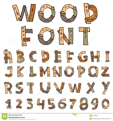 vector font wood style vector illustration stock vector