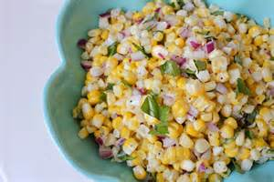 fresh corn salad with basil and red onion so hungry i